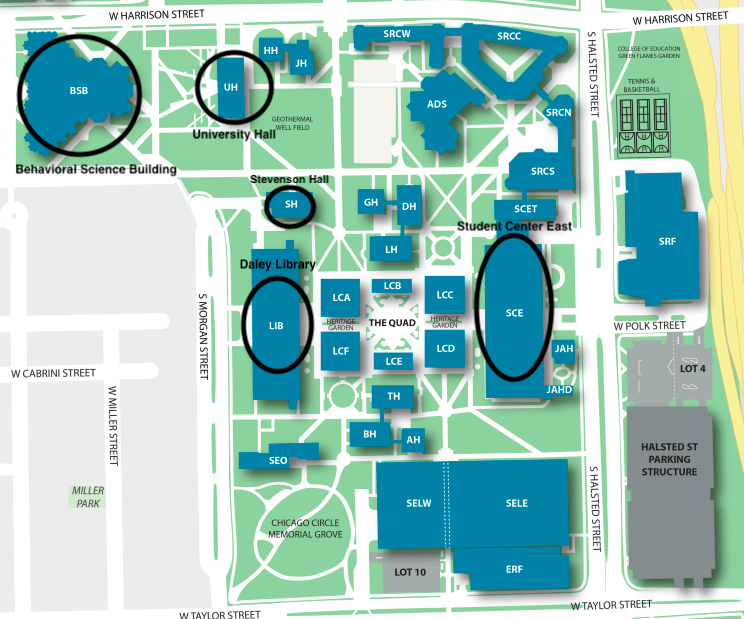 Annotated UIC campus map showing conference locations